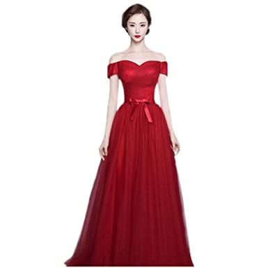 Drasawee Womens Off Shoulder Empire Maxi Evening Prom Dress Elegant Bowknot Lace Up Homecoming Wedding Formal