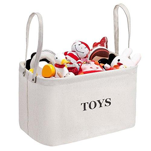 Storage Bin, MaidMAX Canvas Kids Collapsible Storage Basket Organizer for Clothing, Children Books, Gifts or Laundry, Beige