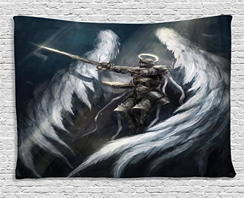 Ambesonne Dark Tapestry Fantasy Decor, Angel Knight Majestic Wings Spiritual Superior Power Imagination Art Print, Bedroom Living Room Dorm Wall Hanging, 80 X 60 inches, Petrol Blue Gray -