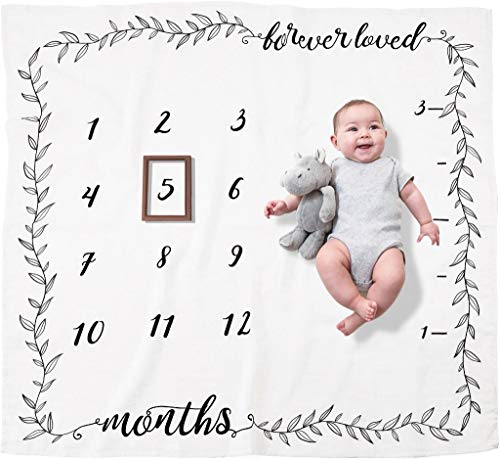 Large 60x 40 Lucca Baby Monthly Milestone Blanket for Baby Boy and Girl Baby Photo Blanket for Newborn Baby Shower Includes 2 Muslin Baby Washcloths 2 Frames Month Blanket for Baby Pictures