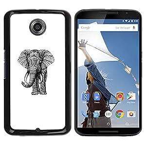 YOYOYO Smartphone Protección Defender Duro Negro Funda Imagen Diseño Carcasa Tapa Case Skin Cover Para Motorola NEXUS 6 X Moto X Pro - elefante arte dibujo rosa teal púrpura