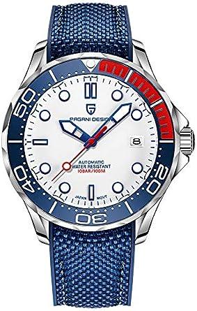 Pagani Design Original Seamaster Reloj para Hombre, Pulsera de Acero Inoxidable con Corona de Rosca y Resistente al Agua hasta 100 m. NH35 Bisel de ...