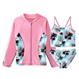 TFJH E Girls Swimsuit SPF UPF 50+ UV 3PCS Rash Guard Sunsuits Green Pink 4A