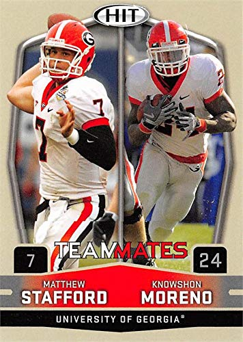 Matthew Stafford & Knowshon Moreno football card (Georgia Bulldogs) 2009 SAGE HIT Teammates Rookie #56