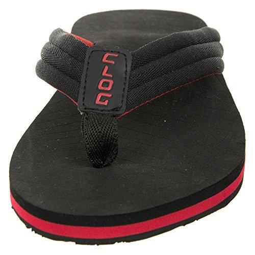 Täppa Mens Klassiska Antiglid Vippor, Ultralätt Vikt Sandal Svart Röd