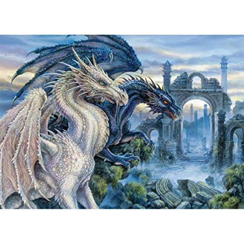 - 5D DIY Diamond Painting by Number Kits - Dragon - Chinese Culture Franterd Full Drill Round Diamond Rhinestone Pasted Embroidery Cross Stitch Craft Canvas Home Decor