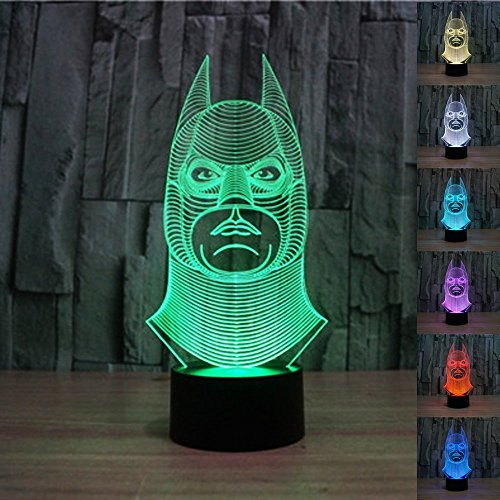 Padaday 100 240V 3D Batman Bulbing Illusion Night Multi 7 Color Changing Usb Touch Button Led Desk Table Light Lamp