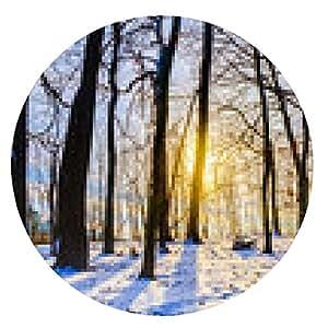 alfombrilla de ratón Puesta del sol del bosque del invierno - ronda - 20cm
