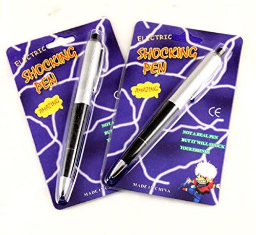 Cooplay 2pcs Shocking Pen Fun Toy Joke to Friend Electric Shock Pencil Trick Prank Gag Gadget for Fool's Day