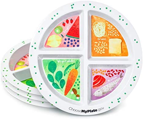 Portion Plate For Adults and Teens - Set of 4 Plates -- With Divided Sections - Weight Loss - Portion Control - MyPlate 1