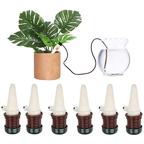 DOCA Watering Stakes Automatic Plant Watering System, 6-Pack Ceramic Plant Waterers - Self Irrigation Watering Spikes - Drip Irrigation Gardening Tools for Houseplant Indoor Outdoor Office Plant (House Plant Watering System)
