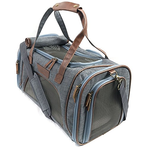 Next Level Pet Soft Sided Foldable Pet Carrier, Leather Style, Small Dog & Cat TSA Approved, Seatbelt Luggage Strap, The New Laika, Grey