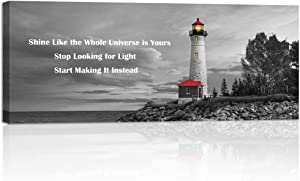 Welmeco Large Black White Wall Art The Red Lighthouse at Sunset on Lake, Michigan, USA Picture Canvas Prints Modern Inspirational Artwork for Living Room Office Decor Ready to Hang