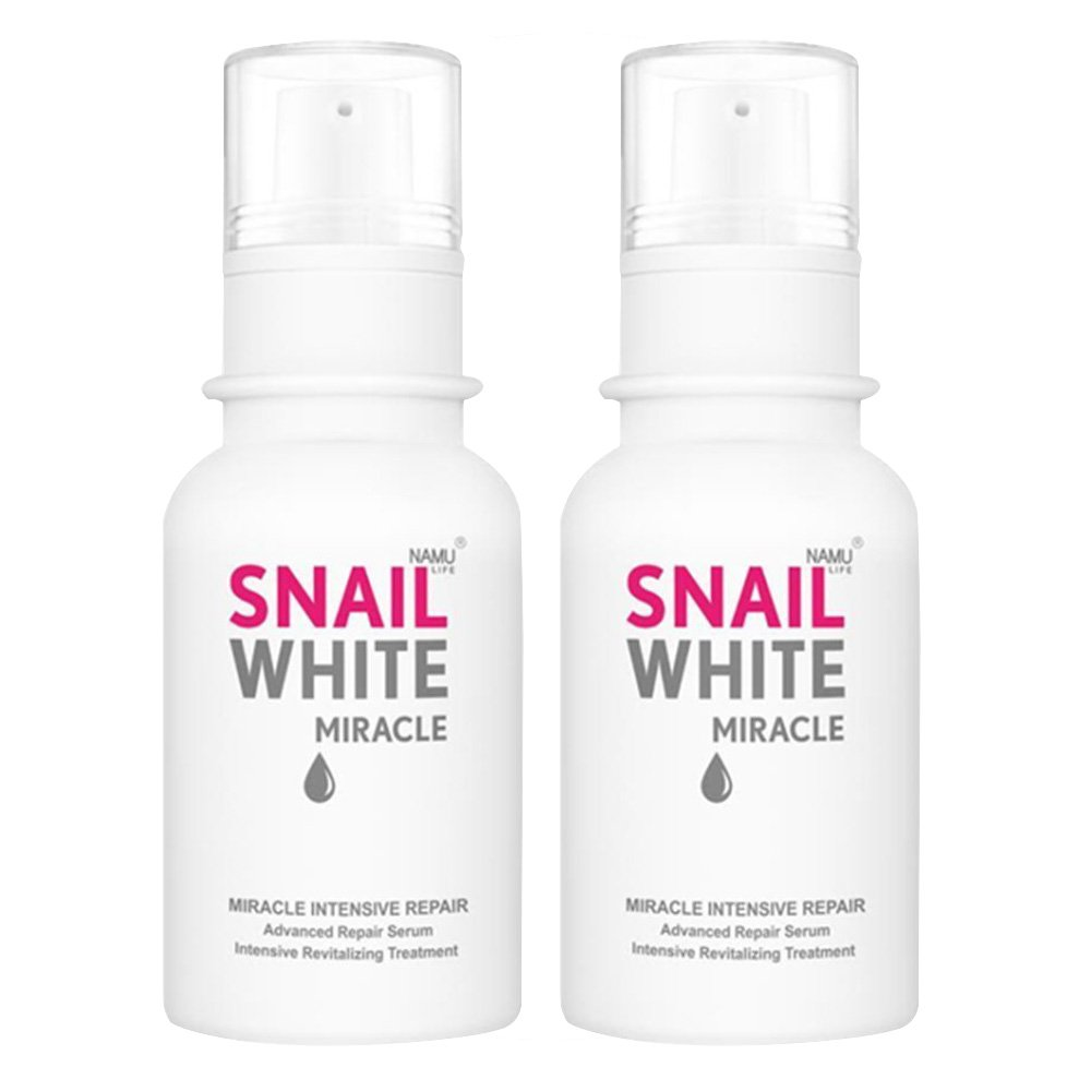 SNAIL WHITE MIRACLE 2 BOTTLES OF INTENSIVE REPAIR SERUM 30ML. 30 DAYS MIRACLE [GET FREE BEAUTY GIFT FOR YOU]