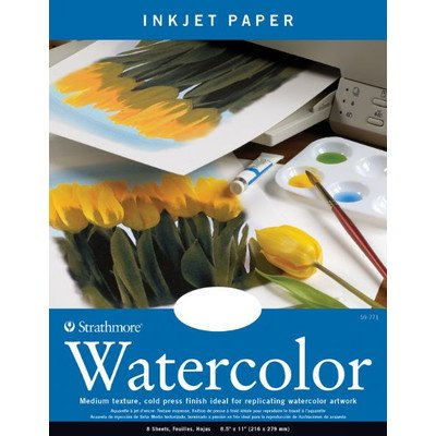 "STRATHMORE Watercolor Inkjet Paper, 8.5""x11"", 8 Sheets"
