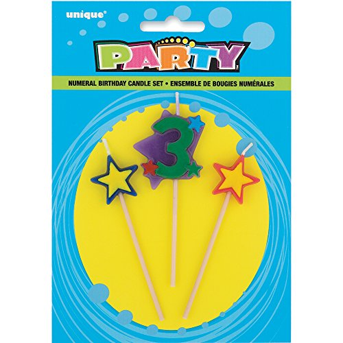 Stars & Number 3 Birthday Candle Set, 3pc