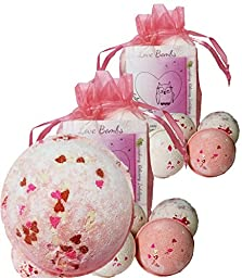 Wholesale 12 Bath Bombs Double Gift Set, Love & Hearts - Handmade with Shea Butter and Organic Sustainable Palm Oil, \