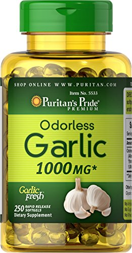 Puritans Pride Odorless Garlic 1000 mg Rapid Release Softgels, 250 Count (Kosher Garlic)
