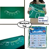 Blackjack Table Felt - Gaming Table Top for Blackjack - Casino-Style, Spill-Proof Layout Cloth Card Table (Green)