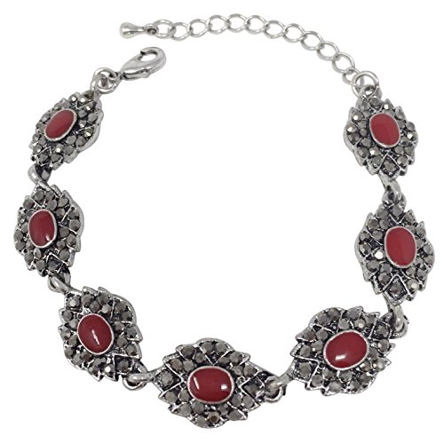 Gypsy Jewels Vintage Look Hematite Grey Rhinestone Silver Tone Unique Clasp Bracelet - Assorted Colors (Abstract Eye Red) ()