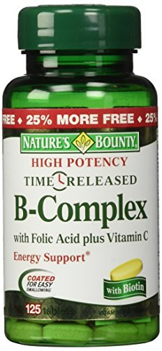 Natures Bounty Vitamin B-complex Tablets (Nature's Bounty B-Complex with Folic Acid plus Vitamin C Tablets 125 TB - Buy Packs and SAVE (Pack of 2))