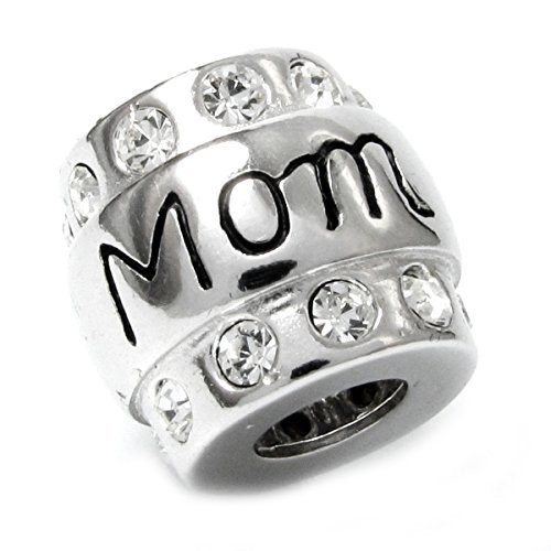 Sterling Silver Mom Mother Cubic Zirconia CZ Crystal Bead For European Charm Bracelets by Queenberry