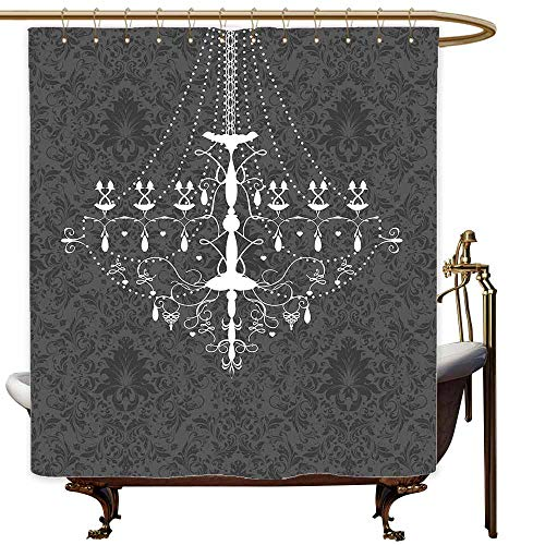 Boston Glass Chandelier - SKDSArts Shower Curtains Nautical Theme Vintage,Victorian Baroque Stylized Nostalgic Chandelier on Damask Background Rococo Design,Grey White,W65 x L72,Shower Curtain for Girls