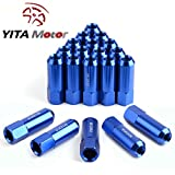 YITAMOTOR 20pcs Blue 12x1.5 Open End Bulge Acorn Lug Nuts - 19mm Hex - Cone Seat - 2.36