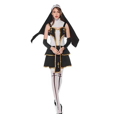 JIANG BREEZE Disfraz de Monja Sexy Cosplay de Halloween Hombres y ...