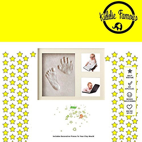 Baby Engraved Handprint and Footprint Keepsake Ornament Kit with Decorative Pieces from Kiddie Famous | Air Drying | Dries Stone Hard | A Perfect Memory Piece to Showcase Clay Mold Imprints (White)