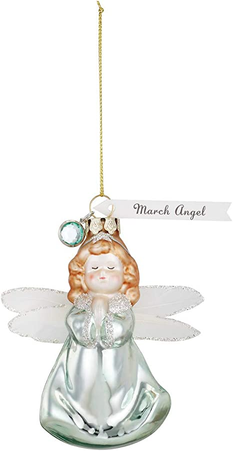 March Angel Aquamarine Green 4 X 4 Glass Christmas Hanging Figurine Ornament Amazon Ca Home Kitchen