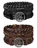 #8: Finrezio Mix 6 Wrap Bracelets for Men Women Hemp Cords Wood Beads Ethnic Tribal Bracelets Leather Wristbands