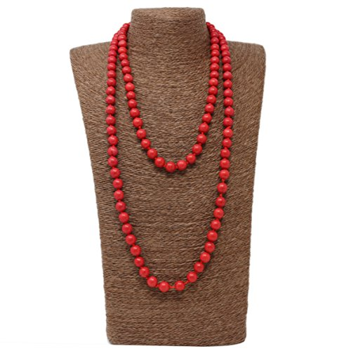 LovelyBead Long Double Knotted Necklace- Crystal- 52 inches Long- Ready to wear- Long Necklace. (52inch,10mm/8mm/6mm, Light Siam Turquoise -
