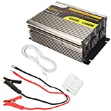 MicroSolar 12V 600W (Peak 1200W) Pure Sine Wave Inverter - with Remote Wire Controller - with 2 Foot Battery Cable