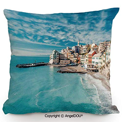 AngelDOU Nice Cotton Linen Pillowcase with core,Panorama of Old Italian Fish Village Beach Old Province Coastal Charm Image,Sofa Car Chair Lumbar Bed Pillow Waist Cushion.23.6x23.6 inches
