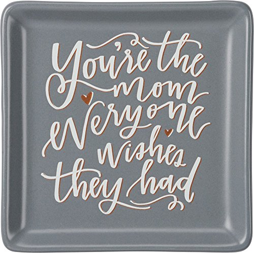 "Primitives by Kathy 34171 Hand-Lettered Stoneware Trinket Tray, 4.13"" x 4.13"", You"