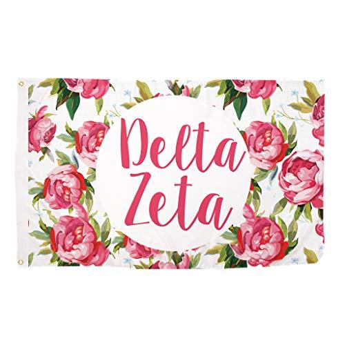 Delta Zeta Rose Pattern Letter Sorority Flag Greek Letter Use as a Banner 3 x 5 Feet Sign Decor dz