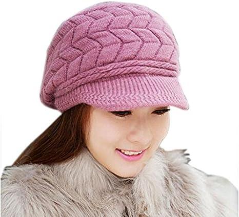 MXJEEIO Sombreros de Invierno para Las Mujeres Las niñas de Lana ...