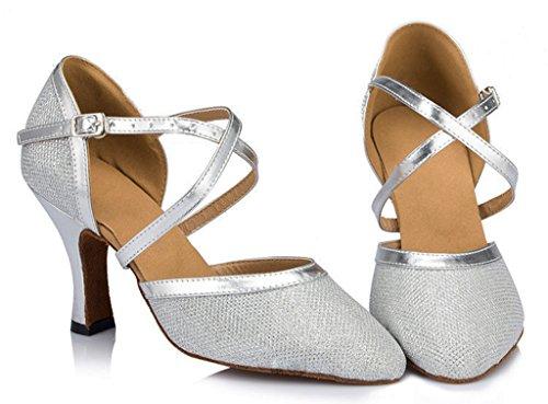 Strap Argent de Ballrom de femme Salsa soirée Criss Ballom Chaussures Tango Meijili pour Chaussures danse moderne Latin Cross ROCwx5zqT