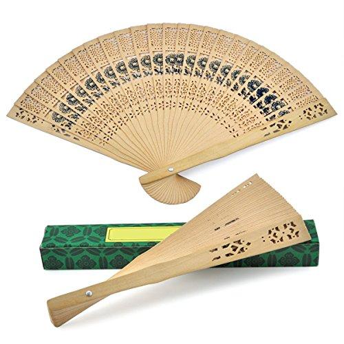 Leegoal Set of 12, Chinese Fans Sandalwood Scented Wooden Open-Work Folding - Fan Sandalwood Scented