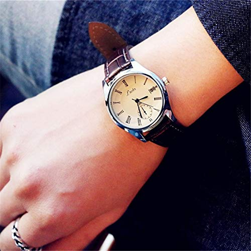 Unique Women Gift Fashion Big dial Watch Women Girls Student Influx Casual Lovers Belt Men Man Table Ultra-Thin Waterproof Quartz Watch (Calendar Brown with White-Faced Trumpet