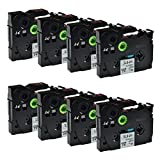 12Mm Label Printer - Greencycle 8 PK Compatible TZ231 TZe231 TZ-231 Label Tape 12mm Black on White for Brother P-Touch Printers - 12mm wide * 8m Length 1/2 by greencycle