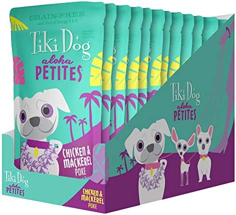 Tiki Pets Aloha Petites Grain Free Wet Dog Food, Pouches with Shredded Meat Superfoods for Small or Large Dog Treats