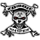 "ProSticker 1294 Zombie Series 10.1cm X 14.0cm ""Zombie Sniper"" Skull Bone Sticker Decal"