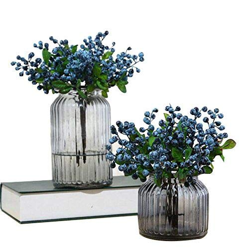 Felice Arts Rich Blue Artificial Berry Stems Holly Christmas Berries for Festival Holiday and Home Decor (Blue)