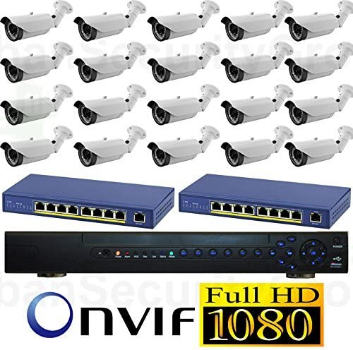 USG 20 Cameras 2019 Model 1080P HD IP CCTV Kit 1x 32 Channel NVR 20x 1080P 2.8-12mm PoE IP Bullet Cameras 2X 8 Port PoE Switch 1x 6TB HDD High Definition CCTV Video Surveillance