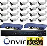 USG 20 Cameras 2019 Model 1080P HD IP CCTV Kit: 1x 32 Channel NVR + 20x 1080P 2.8-12mm PoE IP Bullet Cameras + 2x 8 Port PoE Switch + 1x 6TB HDD High Definition CCTV Video Surveillance For Sale