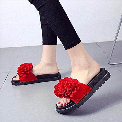 Toe Piattaforma Sandali Flop Donna Piatte Sandali Rosso Colore Pantofola Tacco Fiore Scarpe Spiaggia Puro Round Flip Scarpe Scarpe Kword Sandali O6vBRvf