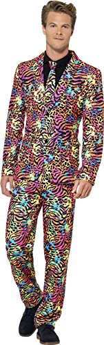 Carnival Costumes 2016 (Smiffy's Men's Neon Suit, Stand Out Suit, Jacket, pants and Tie, Stand out Suits, Serious Fun, Size XL, 41585)