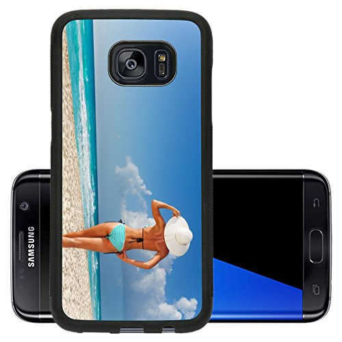 Liili Premium Samsung Galaxy S7 Edge Aluminum Backplate Bumper Snap Case Attractive tanned girl standing on white beach enjoying life wearing hat 28954635